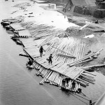 Cecil Beaton - Villagers cross duckboards over floating bamboo poles, Guangxi, China, 1944. The poles are being soaked in fresh water to prepare them for construction use - © Cecil Beaton/ Imperial War Museum