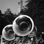 Ansel Adams - The Cal Band's horns glisten in Ansel Adams' black-and-white shot of a pregame parade in 1966. © Photo: Ansel Adams, Bancroft Library / SF  All Rights Reserved