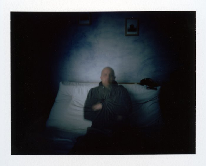 "Jimmy Bonnal, ""Self portrait"" Auray, France - Self portrait in my office  Polaroid Pinhole & Fuji FP100c"