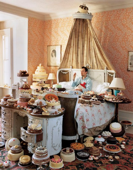 Mr Walker's self-portrait shows him surrounded by 80 cakes, some of which were enjoyed by the crew after the shoot.
