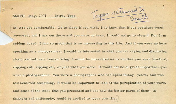 Excerpt from Sheila's typed transcript of her interview with W. Eugene Smith.