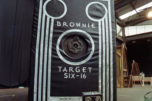 Enlarged to Show Detail Brownie in Motion is modeled after an iconic Kodak Brownie box camera that has been enlarged 17.5x'x to a foot print of approximately 5' x 8'5 x 7.5'. © Stephen Takacs
