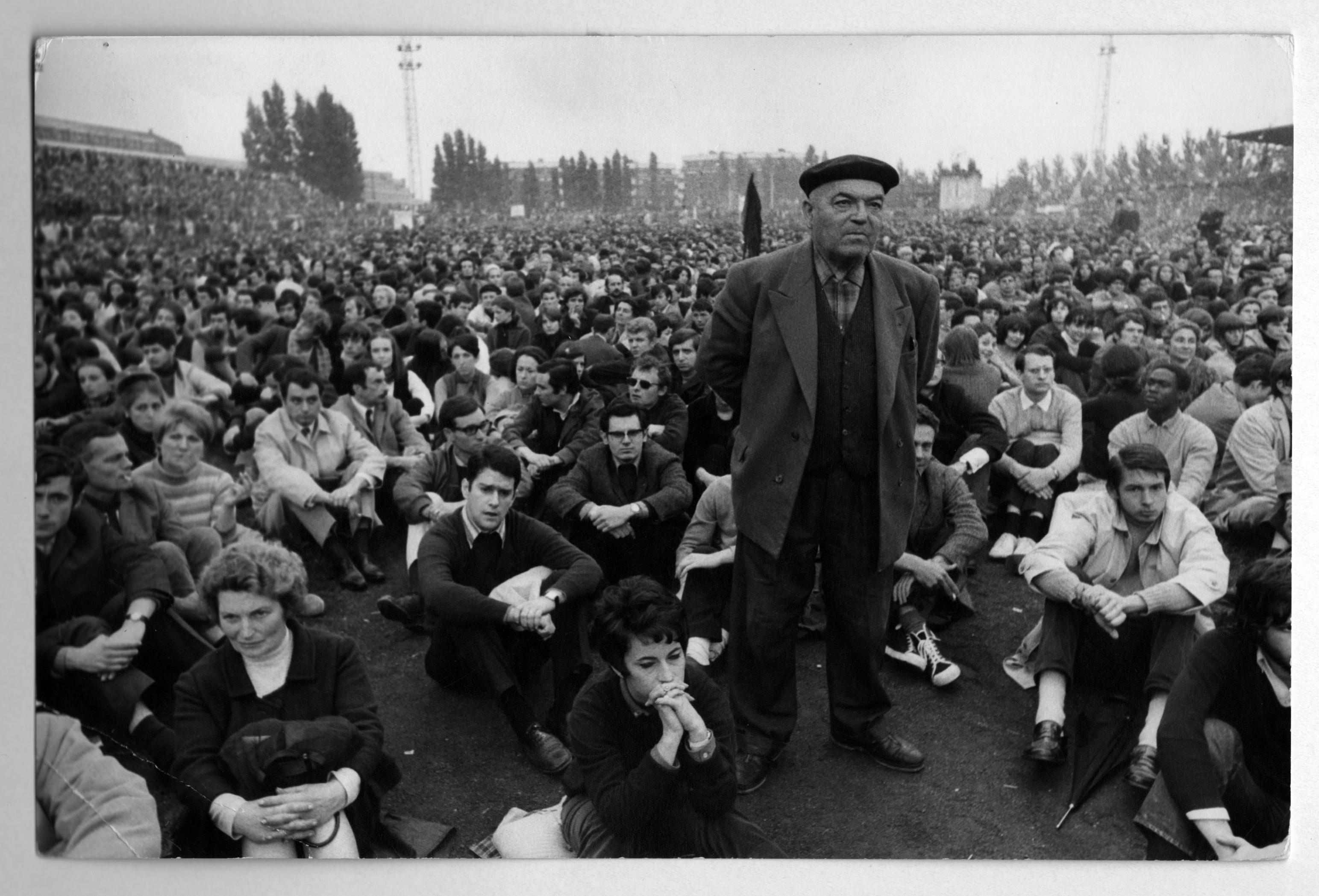 BRUNO BARBEY  - May 27 1968. 13th Arrondissement, 81 Boulevard Kellerman, Paris. Meeting of workers and students at Charlety stadium. Vintage Print © BRUNO BARBEY