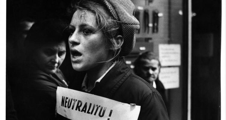 IAN BERRY - Czechoslovakia. Prague. Czech anti-Russian protestor wears a neutrality placard. 1968 Vintage Silver Gelatin Print © IAN BERRY
