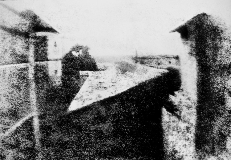 Enhanced version of Niépce's View from the Window at Le Gras (1826 or 1827), the earliest surviving photograph of a real-world scene, made using a camera obscura.