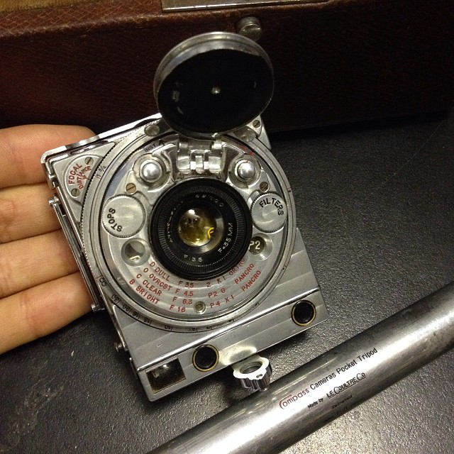 Beautiful!!! The Compass Camera by Jaeger LeCoultre, Swiss watch makers. Made in 1937 as the ultimate compact 35mm rangefinder. This camera was the result of a bet which Lord Noel Pemberton Billing boasted he could create a camera that could fit inside a cigarette packet. After years of development The Compass camera was born! On sale at MW Classic Cameras #Filmsnotdead