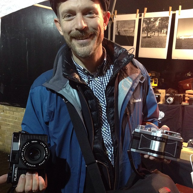 @rabazzo at the stall yesterday with his two babies, the amazing swing lens panoramic camera, the Widelux and his Plaubel! #Filmsotdead #Film