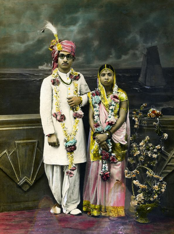Illuminating India - Science Museum Unknown-Photographer-and-Artist-Wedding-Portrait-of-an-Indian-Couple-c.1920-40-©-Alkazi-Foundation-for-the-Arts-594x800 Exhibitions